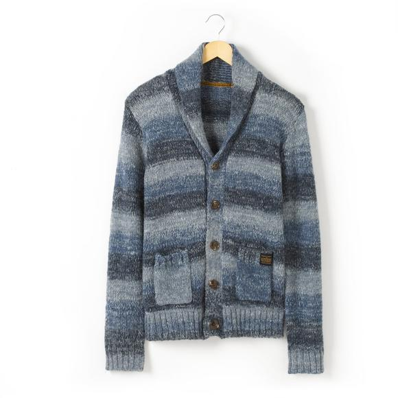 Long-Sleeved Shawl Collar Cardigan with Pockets