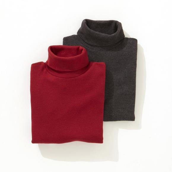 Pack of 2 Cotton Roll-Neck Undersweaters