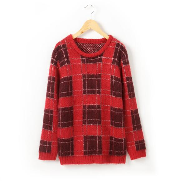 Fluffy Checked Sweater