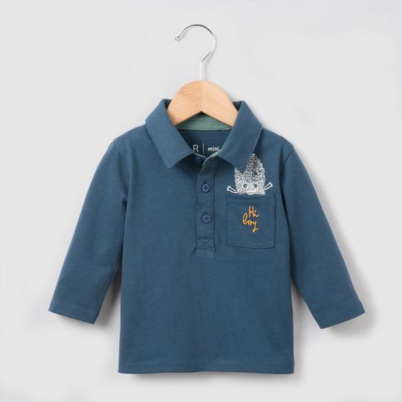 Jersey Monster Print Polo Shirt, 1 Month - 3 Years