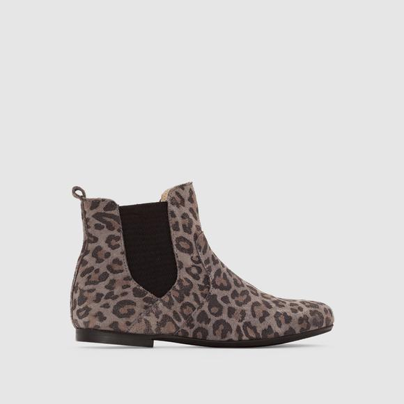 Leopard Print Suede Ankle Boots