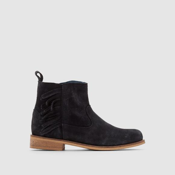 Suede Ankle Boots with Fringing