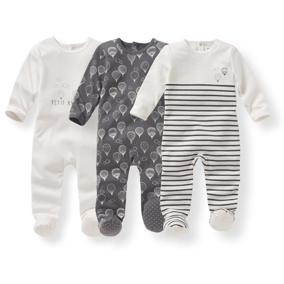 Pack of 3 Printed Cotton Sleepsuits, Birth - 3 Years